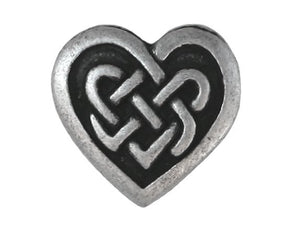 Celtic Heart 9/16 inch Metal Button Antique Silver Color