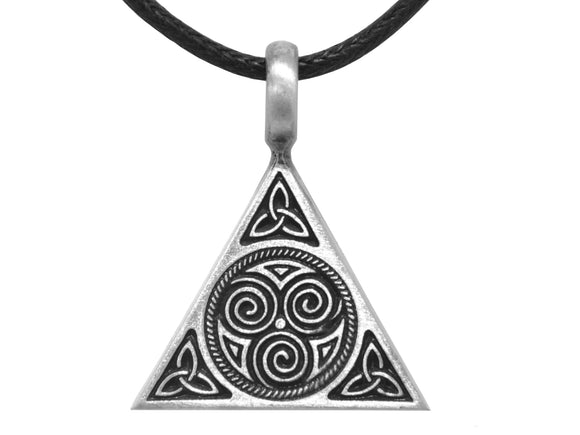 Olavi Celtic Triune Triangle Pewter Pendant on Black Cotton Cord