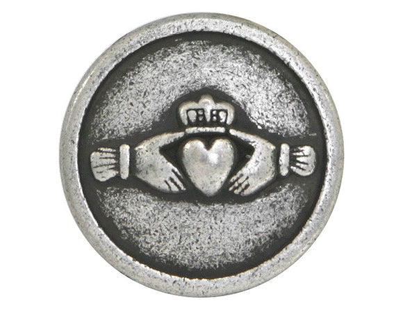 Claddagh Hands and Heart 9/16 inch Metal Button Antique Silver Color