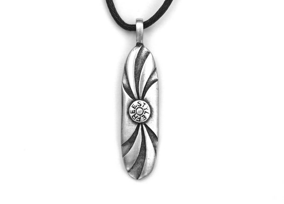 Olavi Board Art Freestyle Surfing Pewter Pendant on Black Cotton Cord