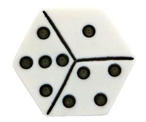 Dice 3/4 inch Novelty Button White Color