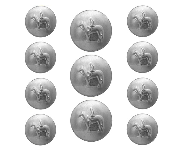 Dill Equestrian 11 pc Metal Blazer Button Set Matte Silver Color