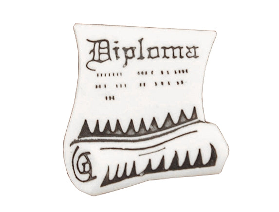 Diploma Large Novelty Button White Color
