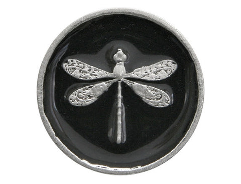 TreasureCast Dragonfly 15/16 inch Pewter Button Silver / Black Color