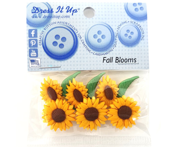 Fall Blooms Novelty Buttons Dress It Up Theme Pack