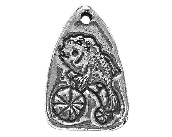 Green Girl Feminist Fish 1 inch Pewter Pendant Antique Silver Color