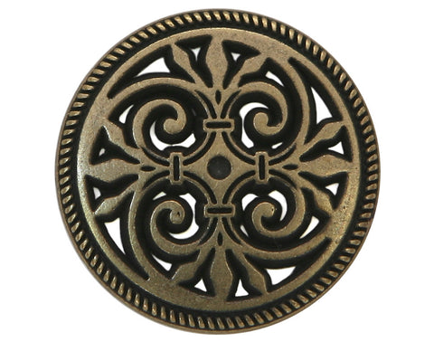 Filigree Fleur de Lys 3/4 inch Metal Button Antique Gold Color