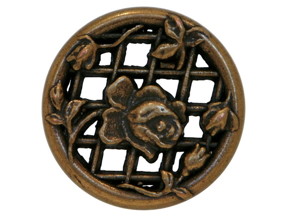 Filigree Rose Trellis Metal Button 3 Sizes  Antique Brass Color