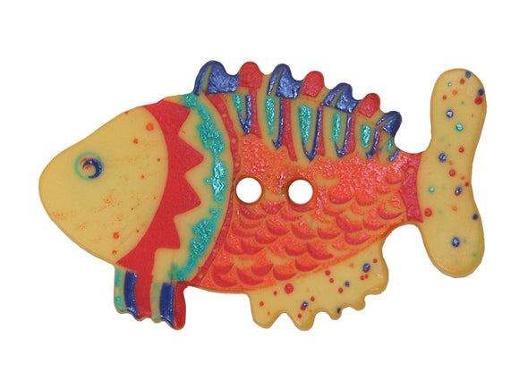 Dill Colorful Fish Extra Large Novelty Button Multi Color