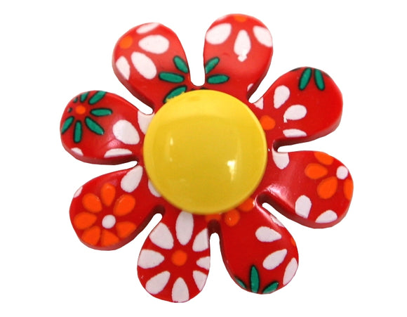 Flower Power 7/8 inch Novelty Button Red Color