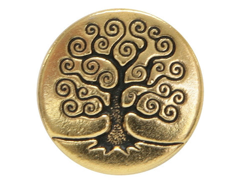 TierraCast Tree of Life<br> 5/8 inch Pewter Button<br> Gold Plated