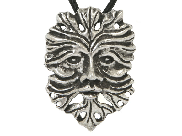 Ram's Horn Green Man Pewter Pendant on Black Cotton Cord