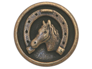 Dill Horse and Shoe 3/4 inch Metal Button Antique Brass Color