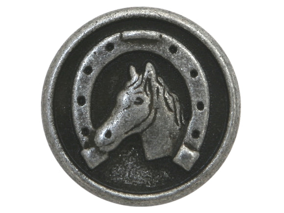 Dill Horse and Shoe 5/8 inch Dill Metal Button Antique Silver Color