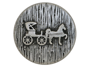 Horse and Carriage Metal Button Antique Silver Color