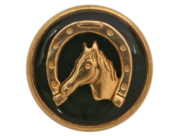 Dill Horse and Shoe 3/4 inch Metal Button Antique Gold / Black Color