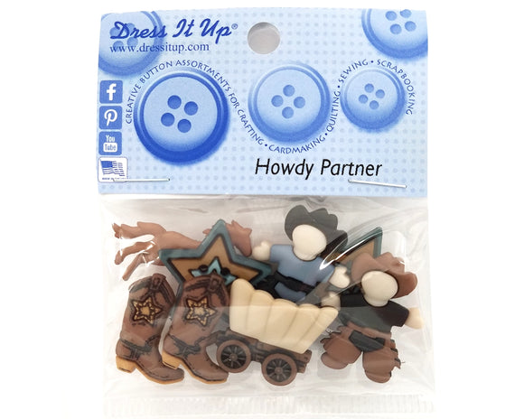 Howdy Partner NEW Novelty Buttons Dress It Up Theme Pack