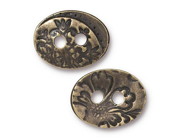 TierraCast Jardin Two Hole 11/16 inch Pewter Button Antique Brass Color