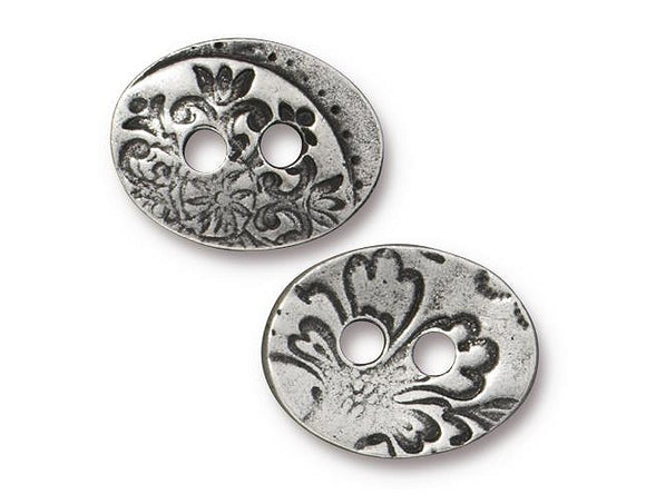 TierraCast Jardin Two Hole 11/16 inch Pewter Button Antique Silver Color