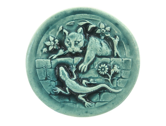 Susan Clarke Kitty and Lizard Large Art Stone Button Mint Color