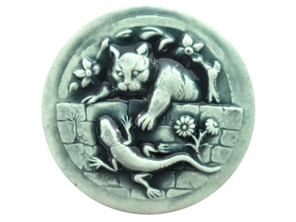 usan Clarke Kitty and Lizard XLarge Art Stone Button Mint Color
