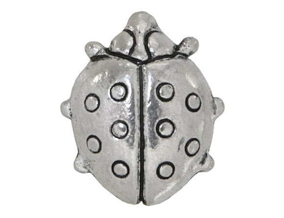 Contemporary Beads Ladybug 5/8 inch Pewter Button Antique Silver Color