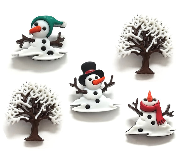 Christmas Snow Don't Go Novelty Buttons Dress It Up Theme Pack