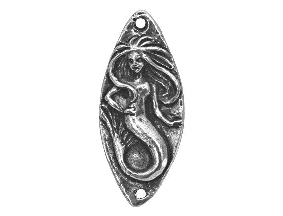 Green Girl Mermaid Seaweed Large Pewter Link Antique Silver Color