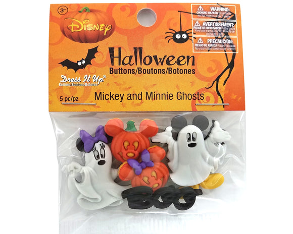 Disney Mickey and Minnie Halloween Ghosts Novelty Buttons Dress It Up Theme Pack