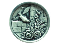Susan Clarke Bird on Wall Large Art Stone Button Mint Color