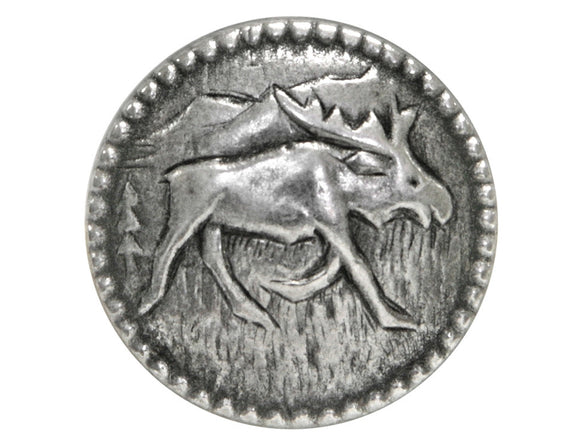 Moosey Moose 3/4 inch Metal Button Antique Silver Color
