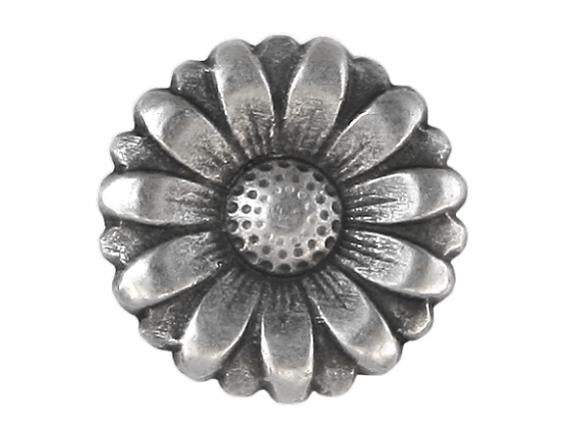 Morning Flower 9/16 inch Metal Button Antique Silver Color
