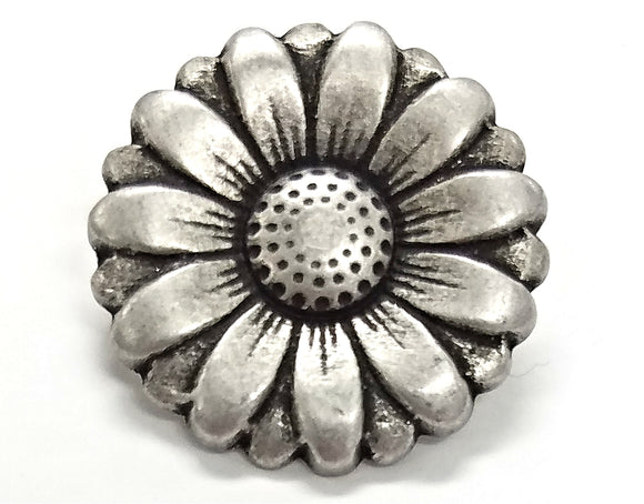 Morning Flower 3/4 inch Metal Button Antique Silver Color