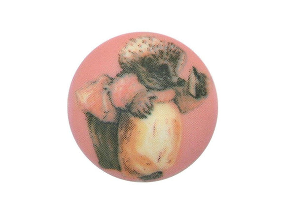 Mrs Tiggy Winkle 3/4 inch Novelty Button  Pink Color