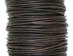 Round Leather Cord 1 mm Diameter Natural Antique Brown 50 Meter Spool