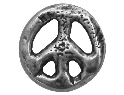 Dill Organic Peace Sign 7/8 inch Metal Button Silver Color