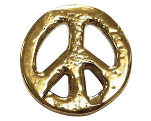 Dill Organic Peace Sign 7/8 inch Metal Button Gold Color
