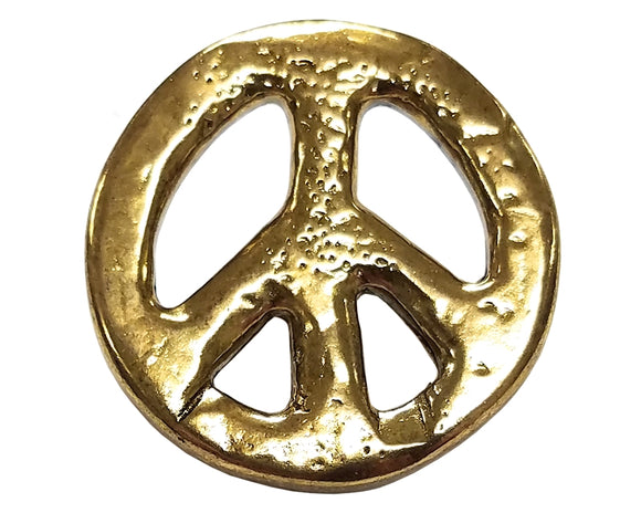 Dill Organic Peace Sign 5/8 inch Metal Button Gold Color