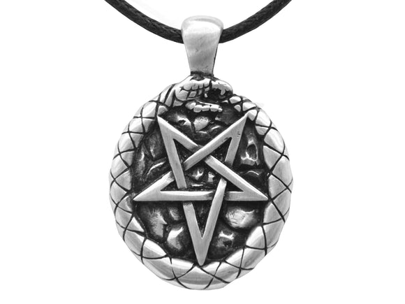 Olavi Celtic Classic Ouroboros Pentagram Pewter Pendant on Black Cotton Cord