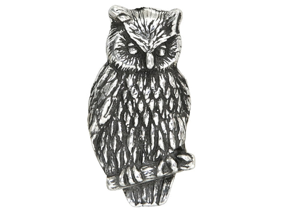 Danforth Owl 7/8 inch Pewter Button Antique Silver Color