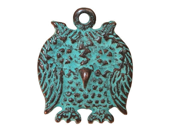 Mykonos Owl Large Metal Pendant Copper / Green Patina