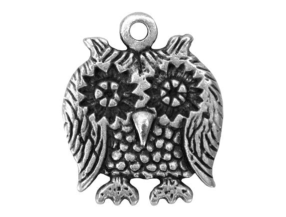 Mykonos Owl Large Metal Pendant Antique Silver Color