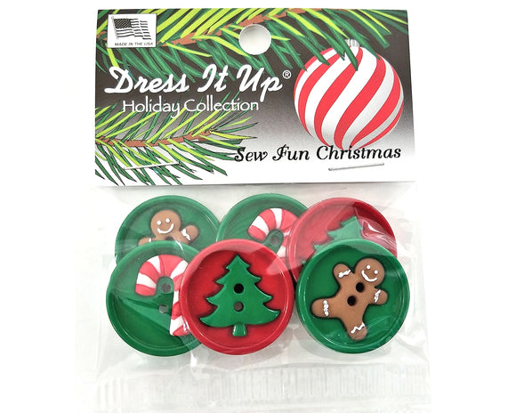 Sew Fun Christmas Novelty Buttons Dress It Up Theme Pack