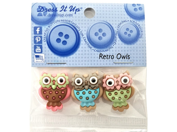 Retro Owls Jesse James Dress It Up Novelty Buttons