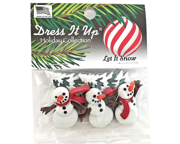 Christmas Let It Snow Novelty Buttons Dress It Up Theme Pack