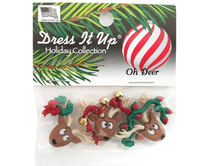 Christmas Oh Deer Novelty Buttons Dress It Up Theme Pack