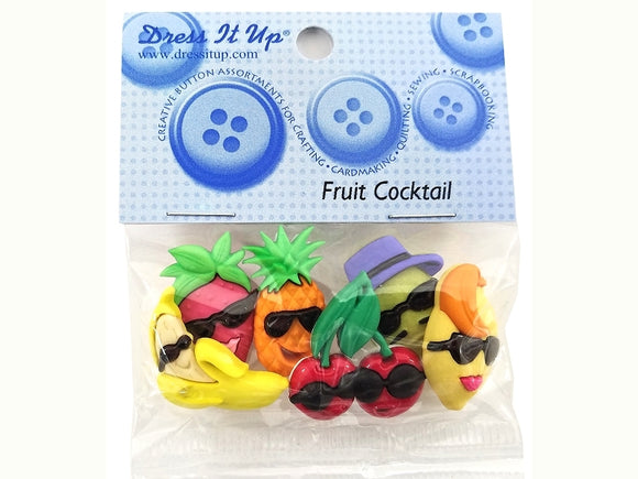 Fruit Cocktail Novelty Buttons Dress It Up Theme Pack