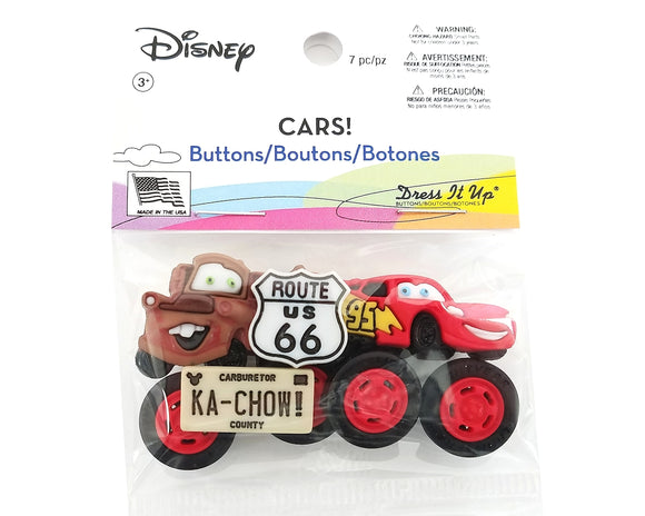 Disney Cars! Novelty Buttons Dress it Up Jesse James Theme Pack