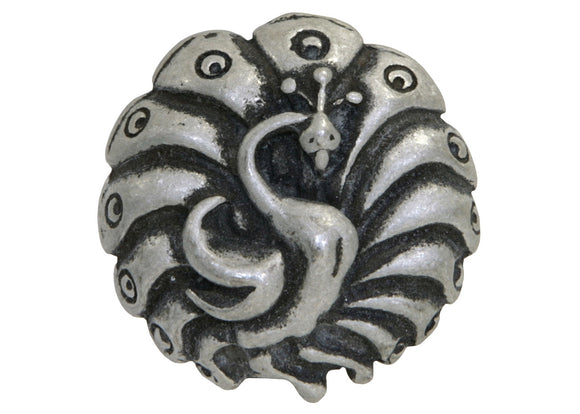 Blackhawk Peacock 1 inch Pewter Button Antique Silver Color