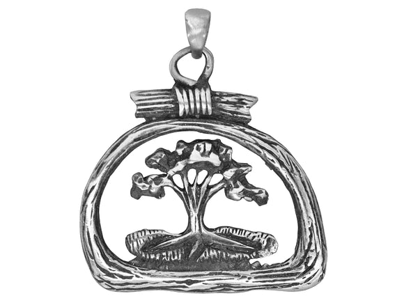Olavi Rustic Tree Large Pewter Pendant Antique Silver Color